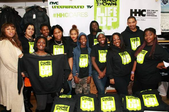 """Ms. Lawrence, Assistant Principal, Ashley Jones """"Parent Coordinator """"and the students of South Bronx Academy for Applied Media & Eric Cliette, HHC"""